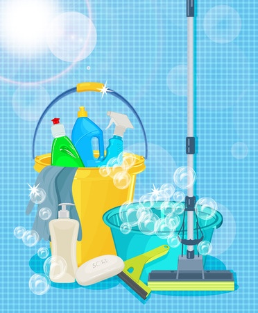 37153295 - poster design for cleaning service and cleaning supplies. cleaning kit icons
